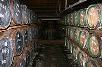 whisky maturing in oak casks